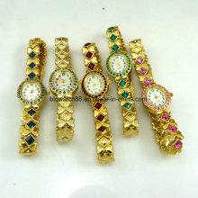 Relógios de pulso de moda Ladies Gold Crystal Jewelry Watch Quartz