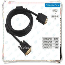 High Quality Gold Plated 1.5m Black dvi 24+5 to vga cable male to male cable with 2 Ferrit
