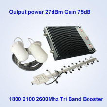 Booster de la señal del teléfono celular de la Tri-Venda, 2600 1800 2100MHz 2g Equipo de la impulsión de la señal 3G 4G / China Booster de la señal móvil