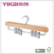 Eucalyptus wooden skirt hanger with metal clips