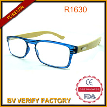 New Trendy Fashionable Colorful Compact Reading Glasses Bamboo Arm Glasses with Tiny PC Frame