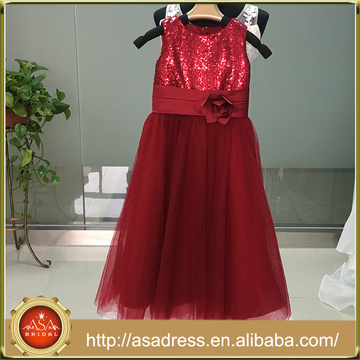 ASAM-12 Lovely Sequined Tulle Girl Dresses with Handmade Flower Zipper Back Flower Girl Dress for Wedding