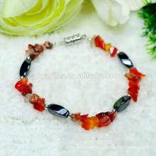 Браслет из натурального красного карнеллиана с магнитным 4-мя кружевами из бисера для стрейча браслет из драгоценных камней ручной работы