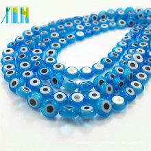 jóias fazendo aquamarine plana rodada contas de vidro do olho do mal