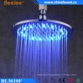 Brass 10′′ Round Chrome Rainfall LED Light Top Shower Head