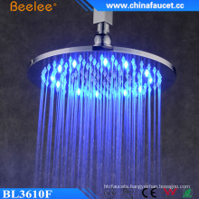 Brass 10′′ Round Chrome Rainfall LED Light Top Shower Head