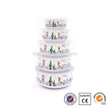 5 pcs enamelware christmas promotional gift bowl