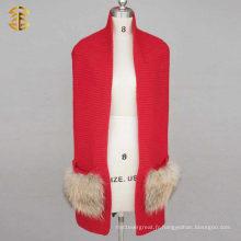 100% laine mérinos ou 30% de laine en laine de grande taille en tricot Echarpe à l'infini avec le véritable Raccoon FUr