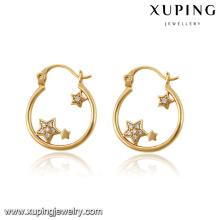 La mode élégante CZ étoile 18 k or-plaqué Imitation bijoux boucle d'oreille Hoops -91532