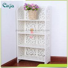 Blanco Cuatro capas Pequeño estante de libro, semejante al material del estante plástico de madera