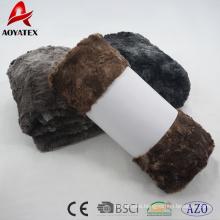 stripe double layer animal pv fleece fake fur blanket