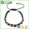 Rondes en acier inoxydable en acier et or perles Bracelets Bracelet réglable de tressage
