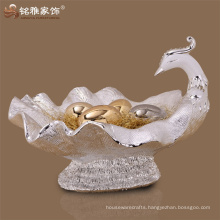 Best price home accessories decoration animal sculpture polyresin peacock fruit bowl