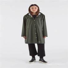 Polyurethane adult rainwear with button and hood
