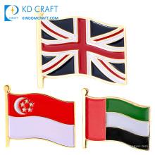 Wholesale cheap custom metal enamel country pins badge national singapore uae united arab emirates england uk flag lapel pin