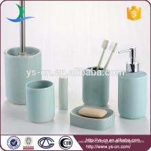 Wholesale Bath blue ceramic 6 pcs bathroom sets