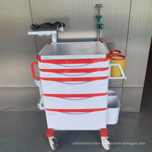 Hospital Adjustable Defibrillator Shelf Emergency Trolley