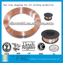 0,6 mm bis 1,6 mm CO2-Gas-Schirm Kupfer-beschichtet Solid Mig Schweißdraht ER70S-6