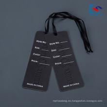 Diseño personalizado Ropa Papel Etiqueta colgante para pantalones vaqueros con cinta