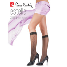 Pierre Cardin OEM 20 Denier Elegante patrón de rodilla altos calcetines 4 colores diferentes