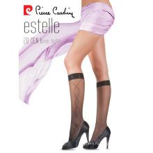 Пьер Карден женщин OEM 20 Денье элегантным рисунком колено высокие носки 4 разных цветов