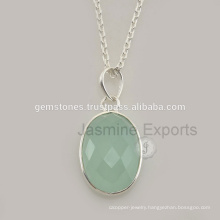 Designer Chalcedony Gemstone Silver Long Chain Necklace For Women