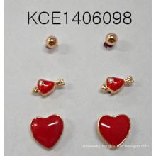 Lovely Red Heart-Shaped Set Earrings