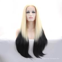 Lange gerade hitzebeständige synthetische Ombre Perücke Lace Front Günstige Ombre Perücke für weiße Frauen