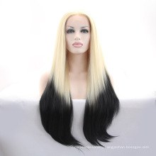 Long Straight Heat Resistant Synthetic Ombre Wig Lace Front Cheap Ombre Wig For White Women