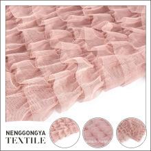 Fournisseur d'usine fantaisie maille floral broderie rose mousseline de soie tissu