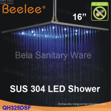 """Wall Mounted Square 16"""" Stainless Steel Rainfall LED Shower Head (Qh326dsf)"""