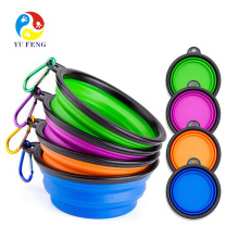 Pocket Foldable collapsible dog bowl with Carabiner Clip Colorful foldable silicone pet bowl Pocket Foldable collapsible dog bowl with Carabiner Clip Colorful foldable silicone pet bowl