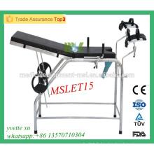 MSLET15M 2016 Meilleur prix Lit d'examen pratique en gynécologie lit d'examen en acier inoxydable