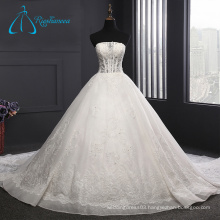 Sequined Tulle Satin Ball Gowns Beading Wedding Dress