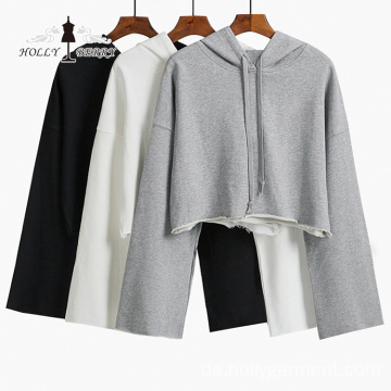 Fashion Short Hooded Dreiviertel Crop Top Hoodies Frauen
