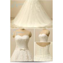 Bandage Lace Appliques Tulle Bow Sash Zipper A-Line Wedding Dress