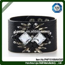2015New Fashion Diamonds Bracelet Black Wide Leather Cuff Bracelet/homens