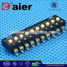 Daier Black 1 ~ 12 Position Plastic SMD Type DM SERIES Interruptor de inmersión giratoria