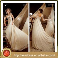 LBW-11Vintage Lace formal vestido de novia de la boda con el cordón de manga larga Appliqued Crystal rebordeado alta baja vestidos de boda