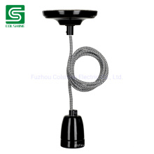 Ceramic Pendant Lamp Socket E27 with Fabric Lamp Cord Vintage Pendant Lamp Kit