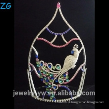 Bela coroa de pavão coloridos Rhinestone Tiper