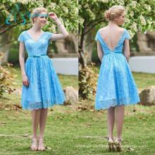 V Neck Lace Bow Sashes Short Bridesmaid Dress Patterns
