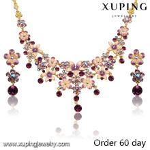 Moda de luxo banhado a ouro 18k conjunto de jóias imitação flor com strass (s-7)