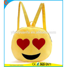 Hot Quality Funny Cute Round Yellow Color Emoji Plush Drawstring Bag