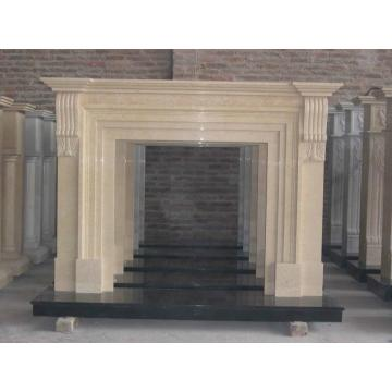 Sculpture Carved Natural Stone Fireplace