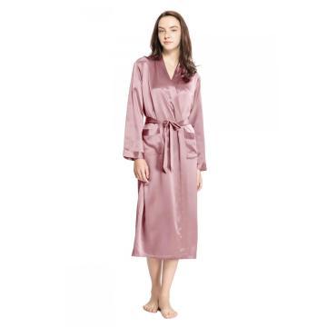 Roupão de seda 19 Momme clássico de comprimento total Roupão de banho oblíquo com decote em V curto quimono Robe das damas de honra S-XXXL