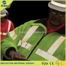 Transferencia de calor reflectante de plata Diagonal rayas de cinta de hierro en ropa de seguridad
