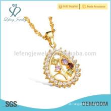 18k colar de diamantes, gota de água pingente de jóias colar
