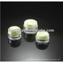 15мл 30мл 50мл 100мл Темно-зеленый узор для зерна Косметические круглые акриловые банки