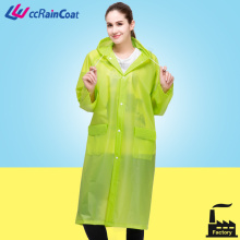 EVA colorful plain durable raincoat with hood drawstring and air hole on back